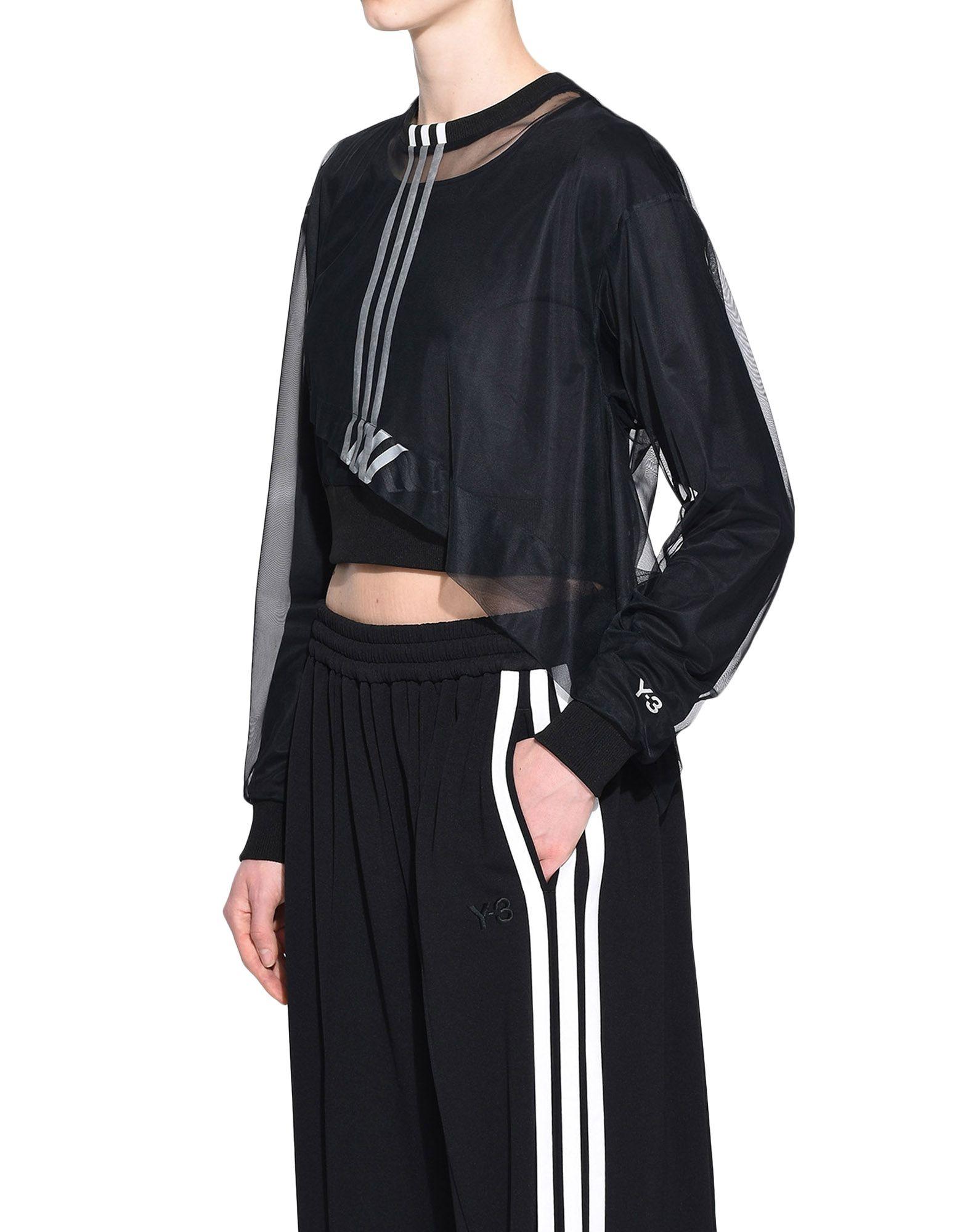 Y-3 Y-3 3-Stripes Mesh Cropped Tee Long sleeve t-shirt Woman e