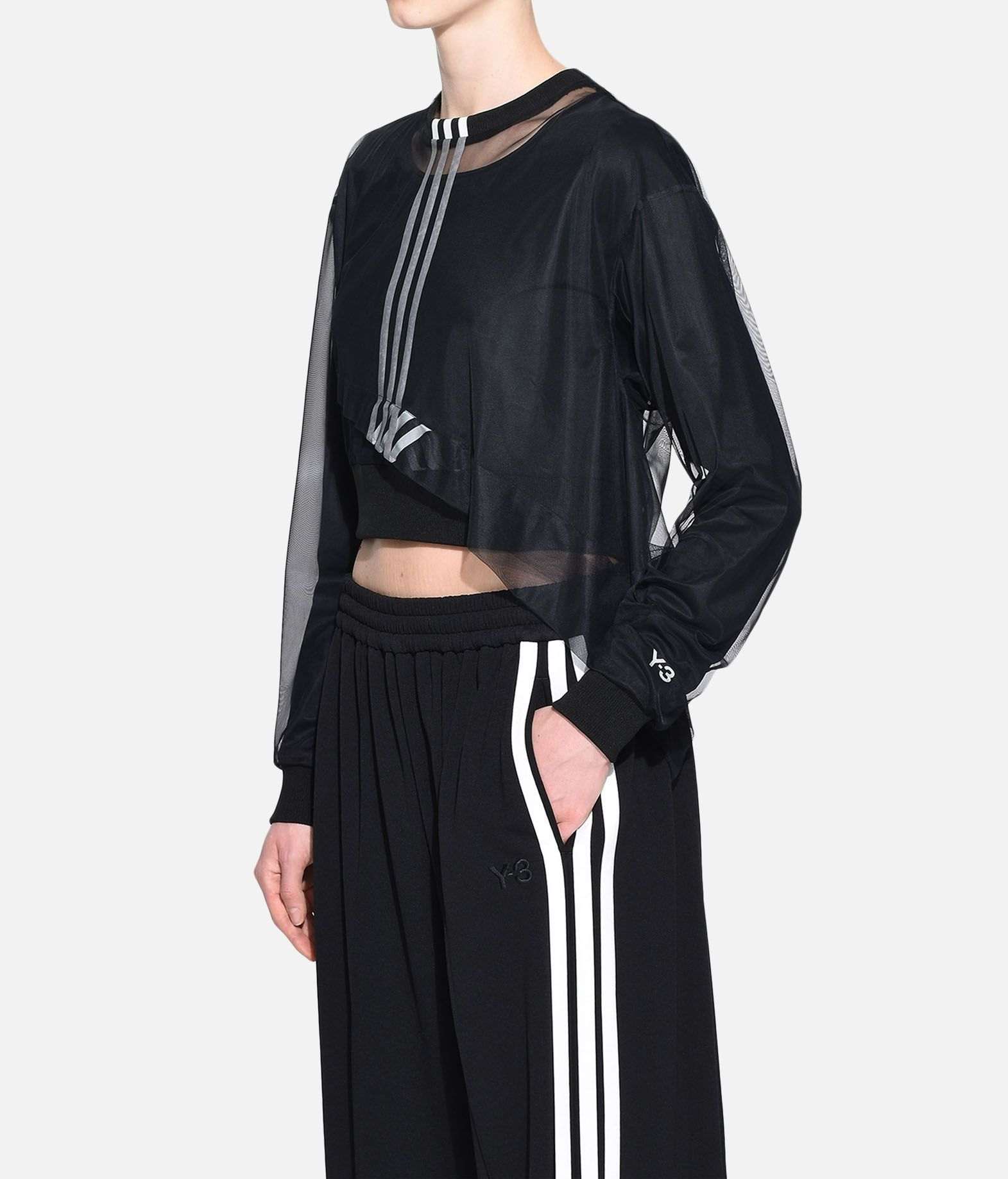 Y-3 Y-3 3-Stripes Mesh Cropped Tee Long sleeve t-shirt Woman e