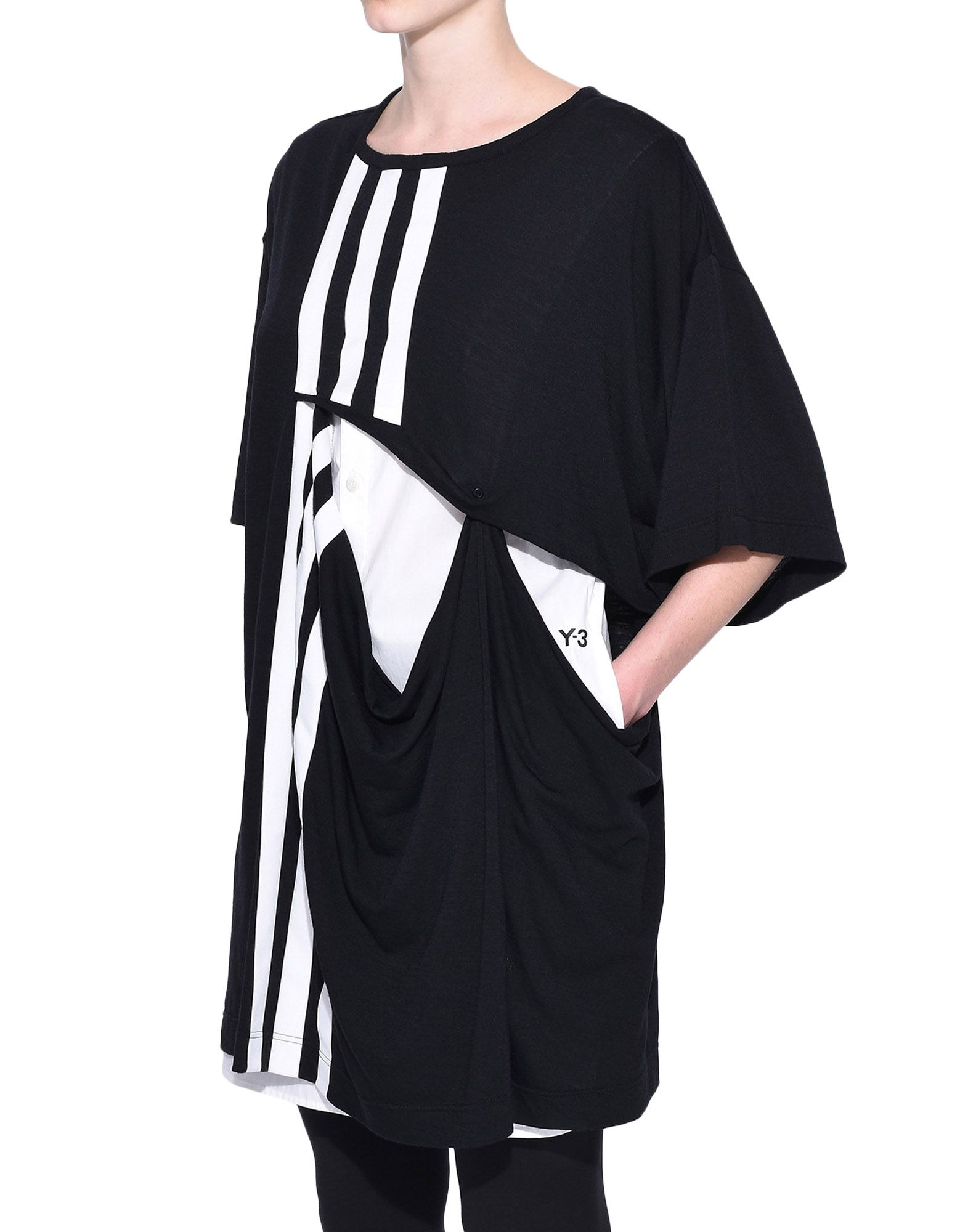 Y-3 Y-3 3-Stripes Layered Tee Short sleeve t-shirt Woman e