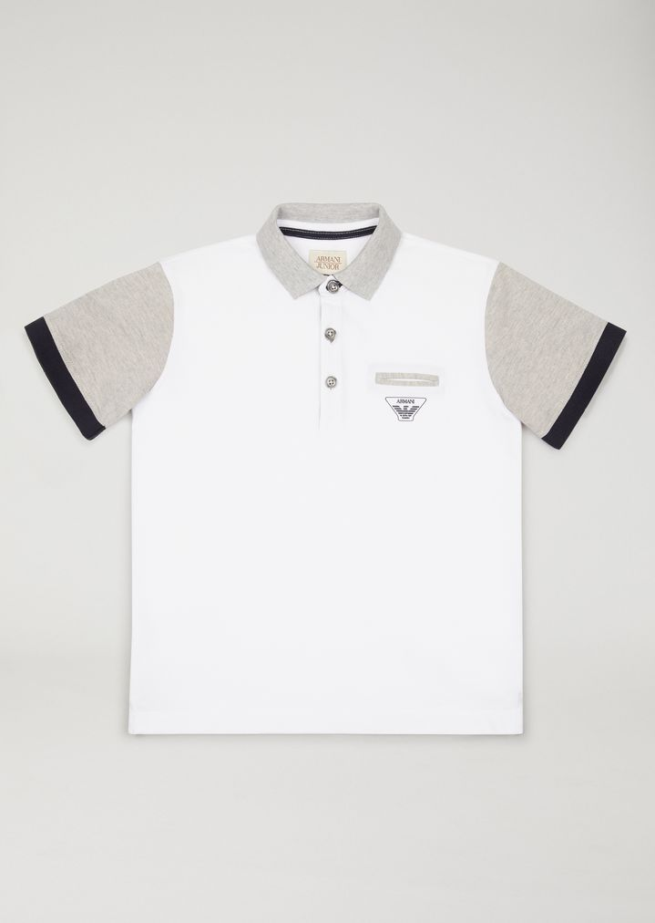 fc1e6d8064 Polo shirt with contrasting sleeves | Kid | Armani Junior