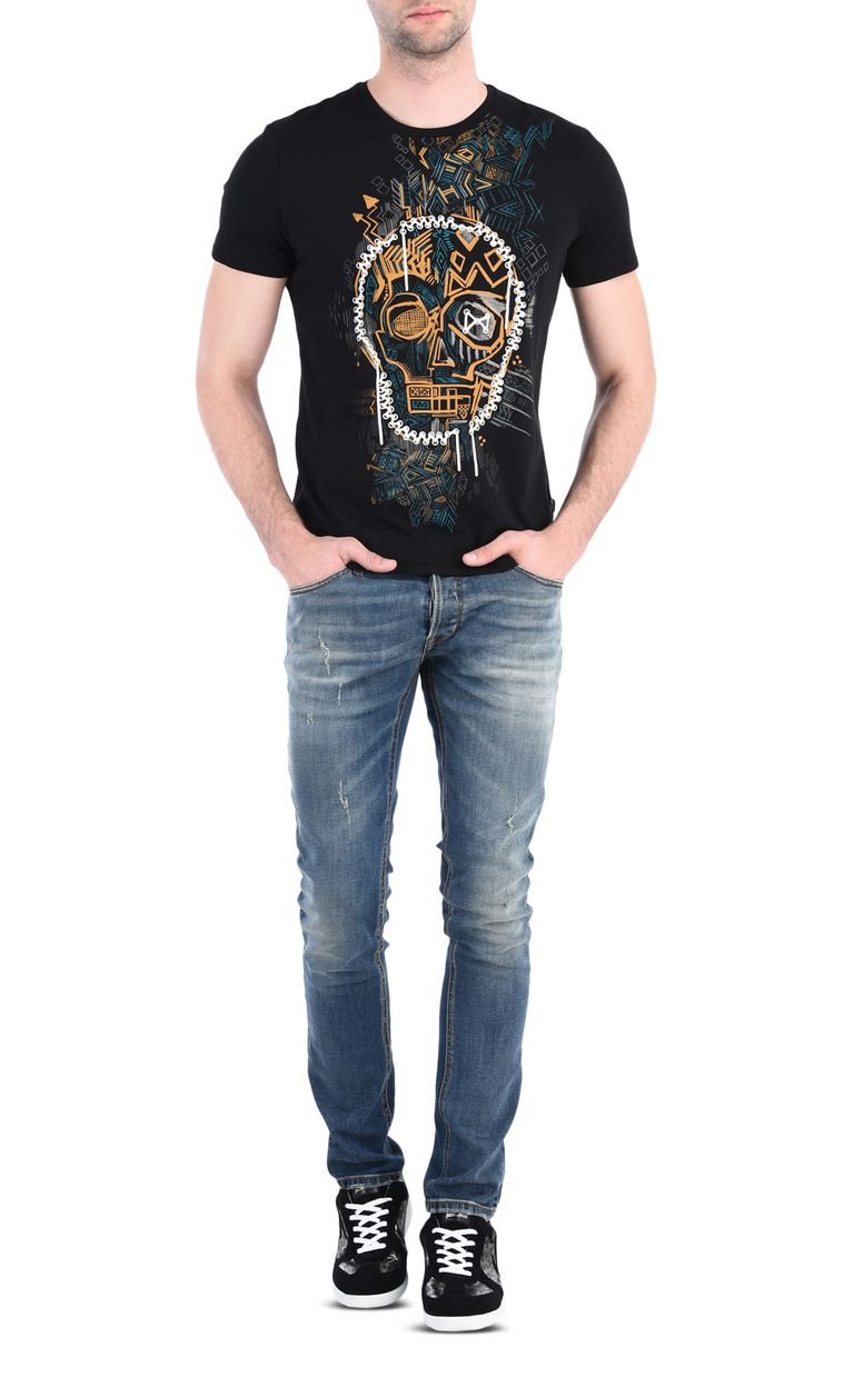 JUST CAVALLI Skull graffiti T-shirt Short sleeve t-shirt [*** pickupInStoreShippingNotGuaranteed_info ***] r