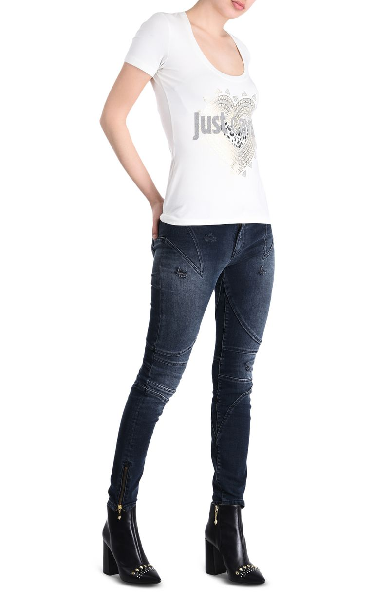 JUST CAVALLI Just Cavalli heart T-shirt Short sleeve t-shirt [*** pickupInStoreShipping_info ***] r