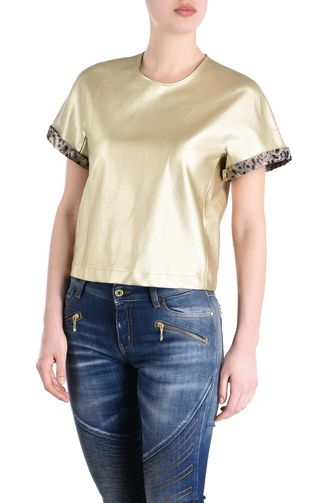 Short-sleeve bronze-tone top
