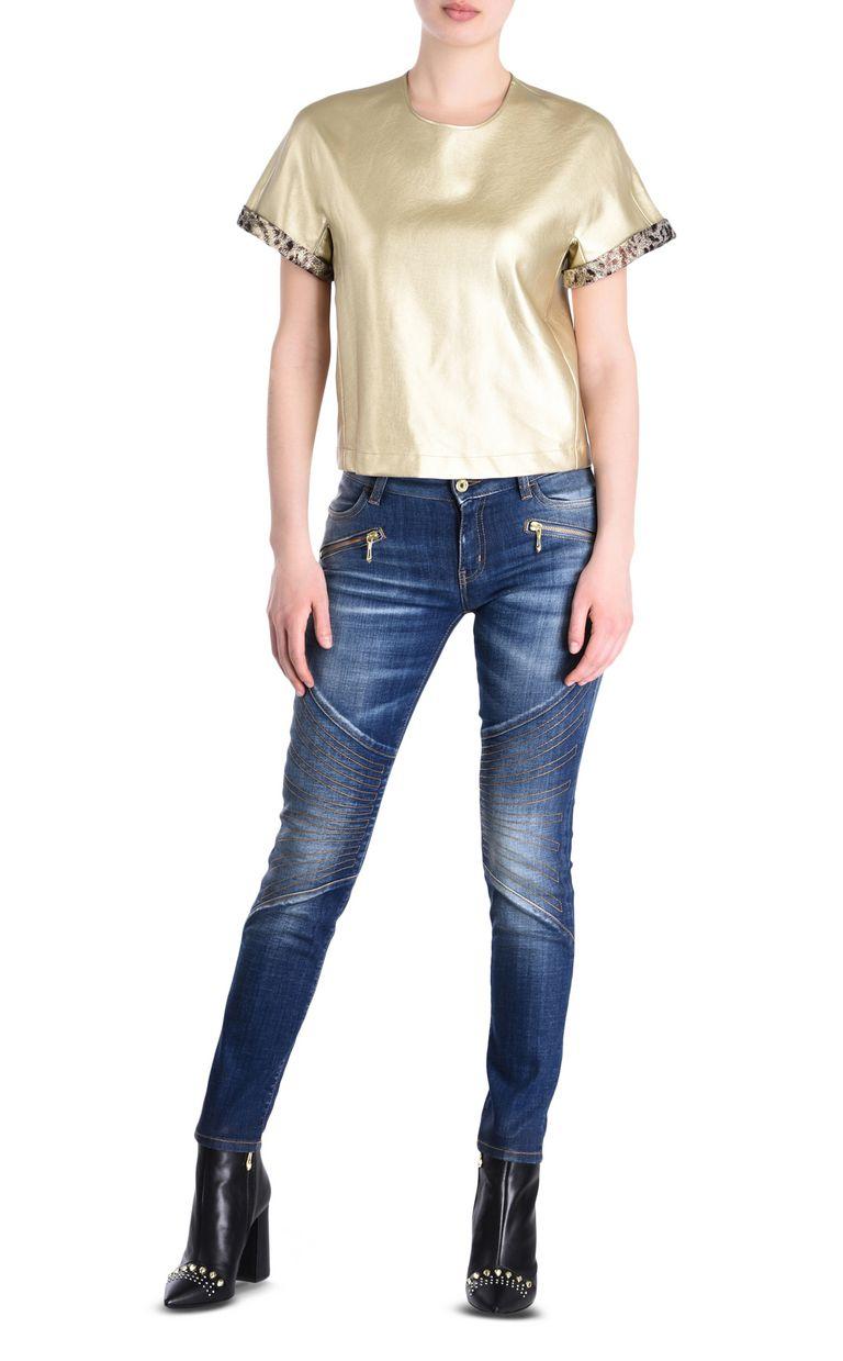 JUST CAVALLI Short-sleeve bronze-tone top Top Woman r