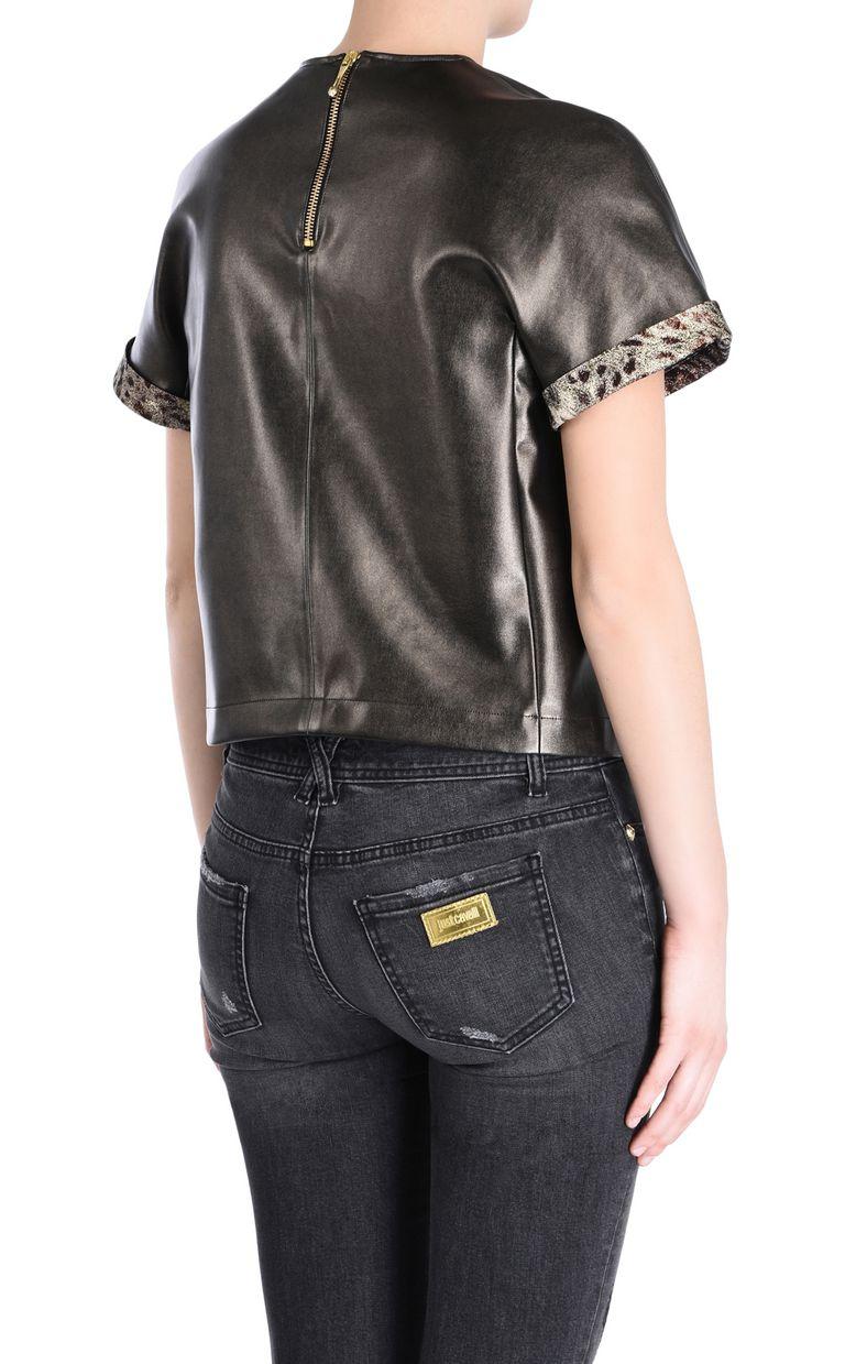 JUST CAVALLI Short-sleeve bronze-tone top Top Woman d