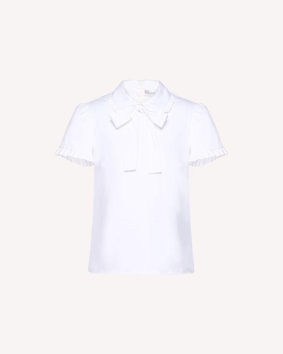 REDValentino Top de popelina de algodón con cuello redondeado y lazo