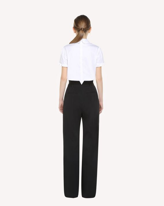 REDValentino Cotton poplin top with rounded collar and bow