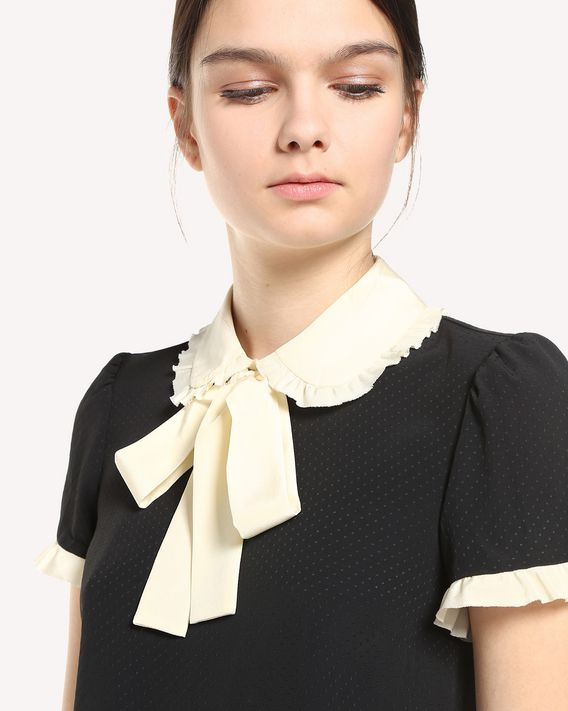 REDValentino Crepe de Chine Jacquard top with bow