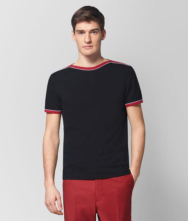 BOTTEGA VENETA T-SHIRT IN COTONE NERO Polo & T-Shirt Uomo fp