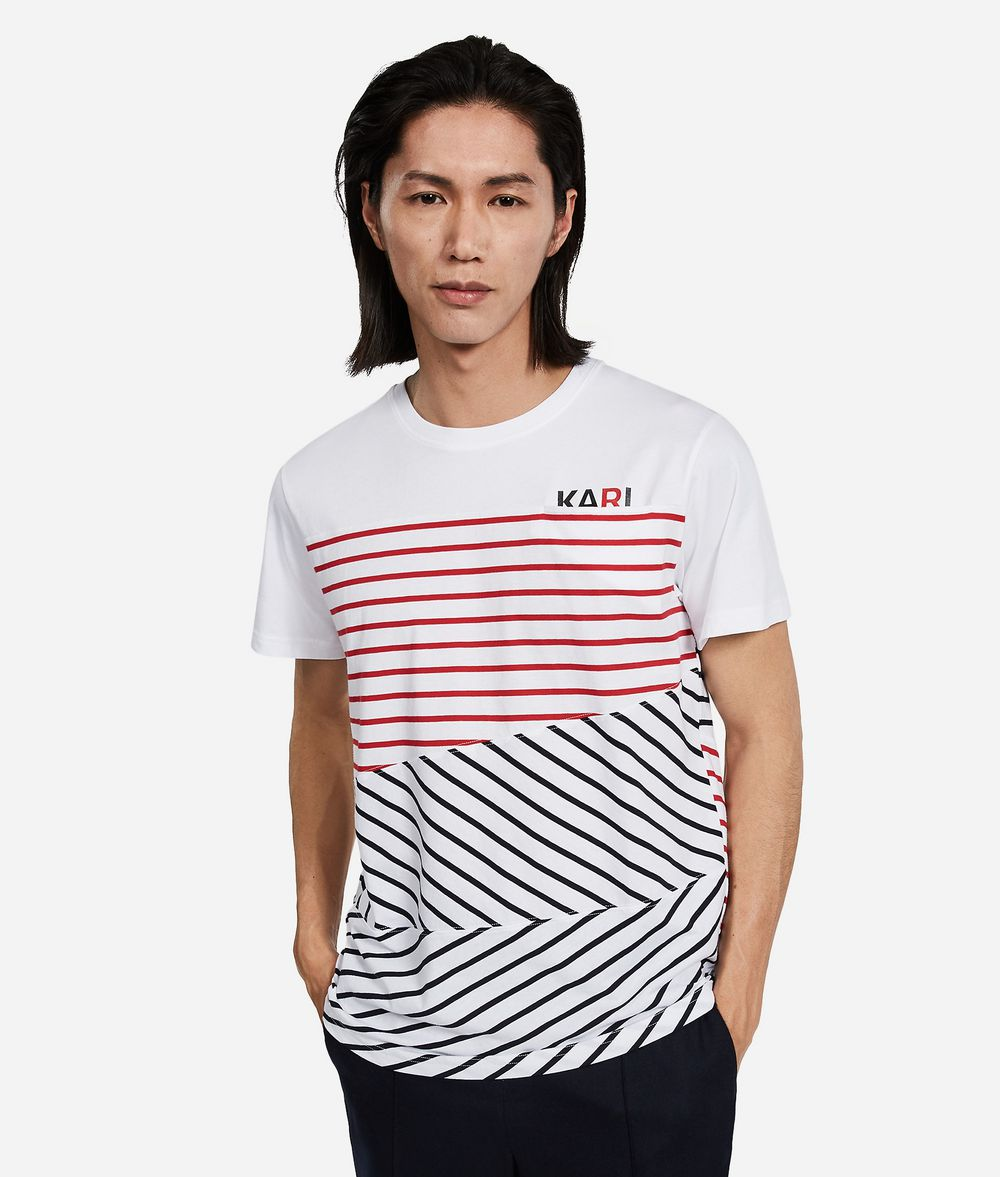 KARL LAGERFELD T-shirt à rayures contrastantes T-shirt Homme f