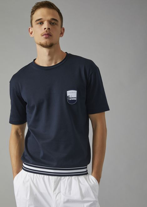 T-shirt with embroidered Pantelleria emblem