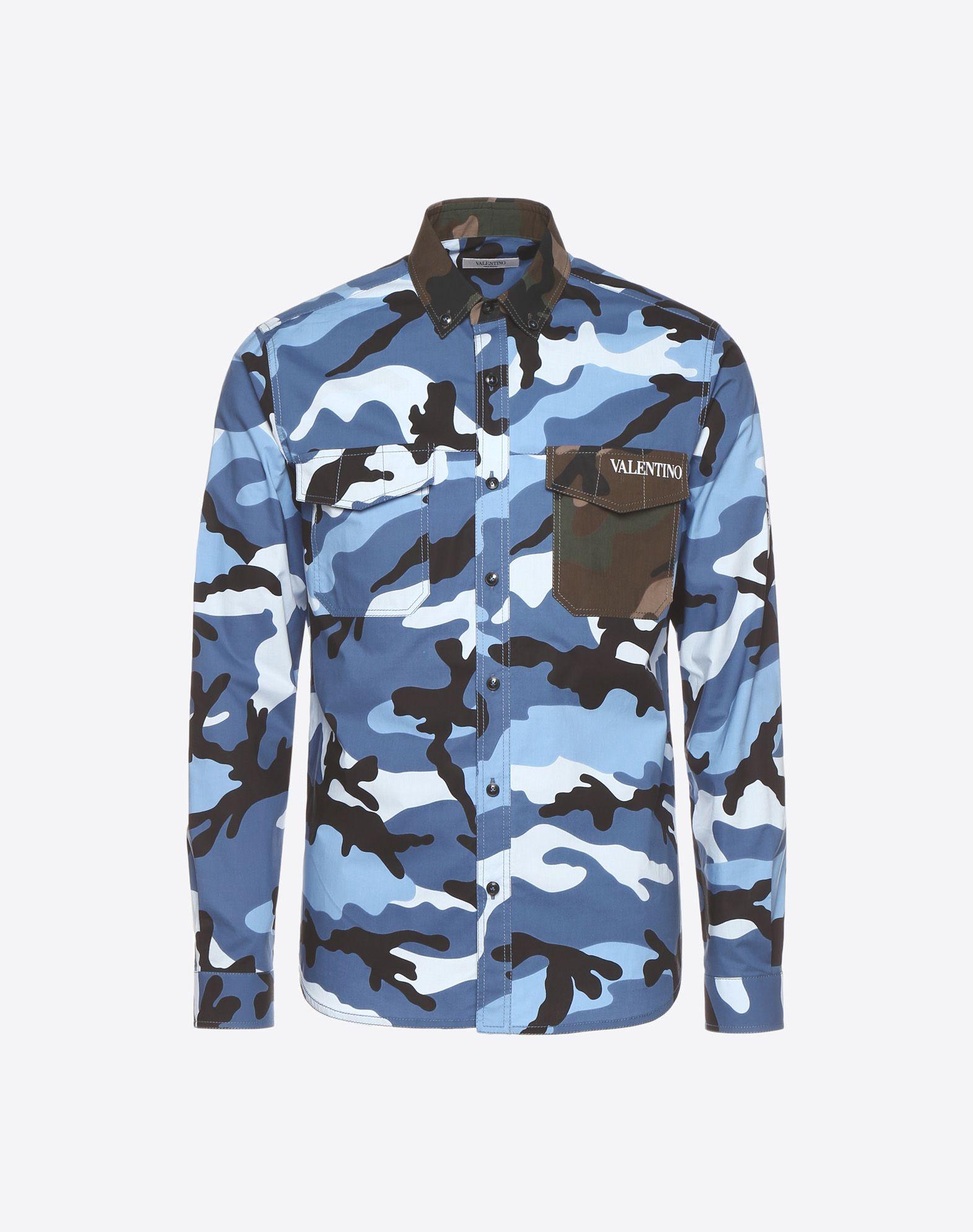 VALENTINO Camouflage-print poplin shirt  Shirt U f