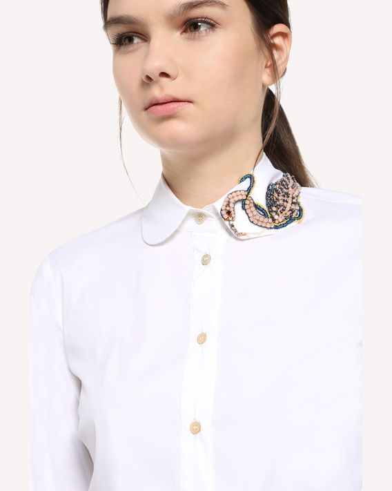 REDValentino Cotton Poplin shirt with Enchanted Bird patch