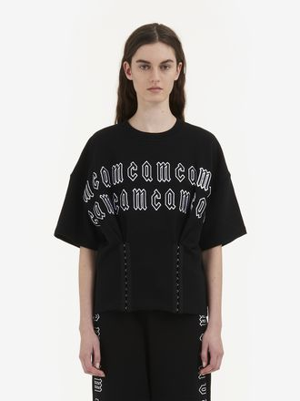 McQ Gothic Repeat Logo Corset Sweat T-Shirt
