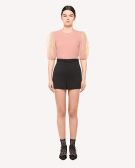 REDValentino Crepe-back Satin top with tulle puff sleeves