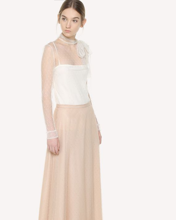 REDValentino Top in Tulle Point d'Esprit
