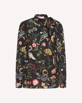 REDValentino Top de seda con estampado Flora and Fauna