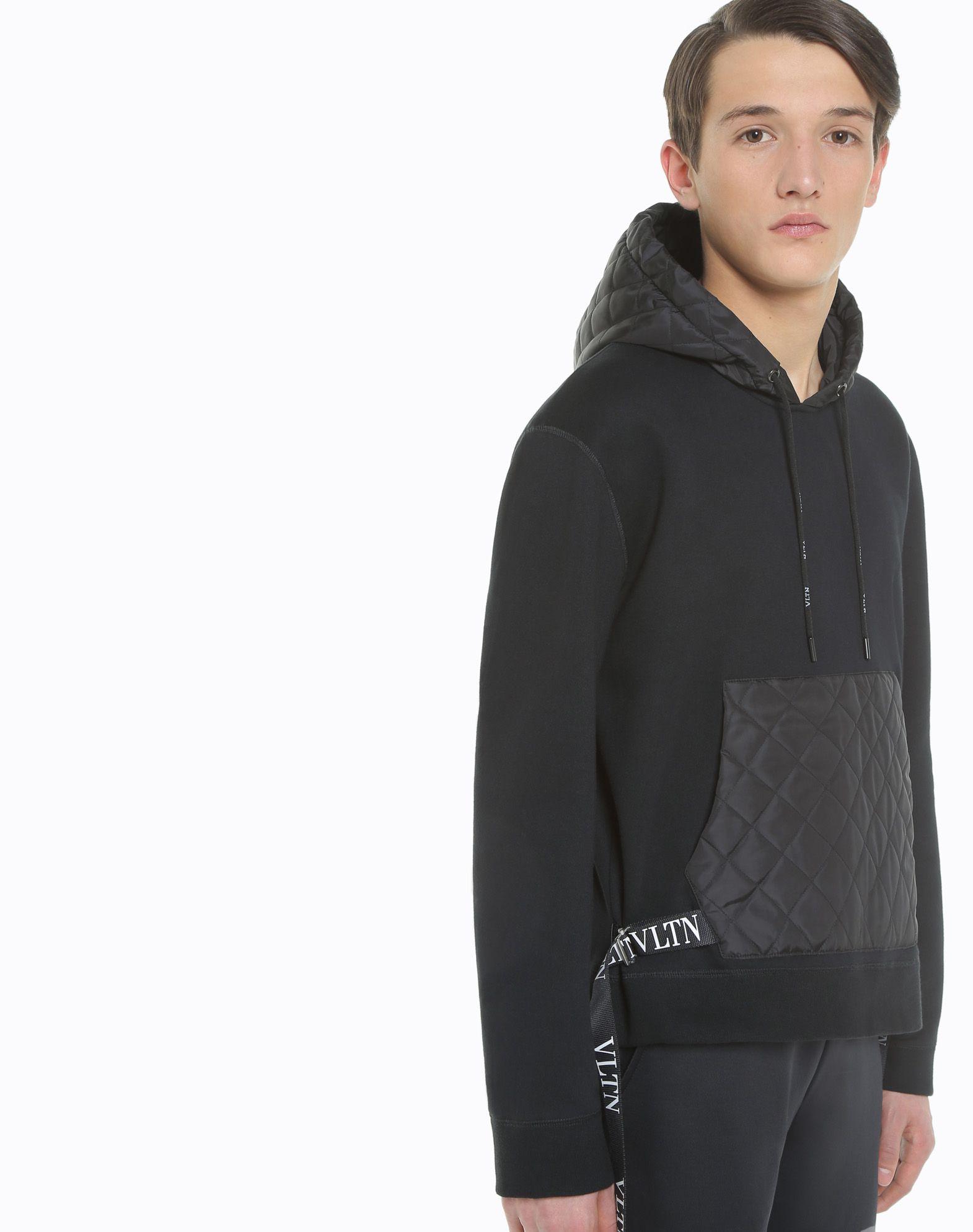 VALENTINO UOMO Sweatshirt with VLTN nylon hood Sweatshirt U a
