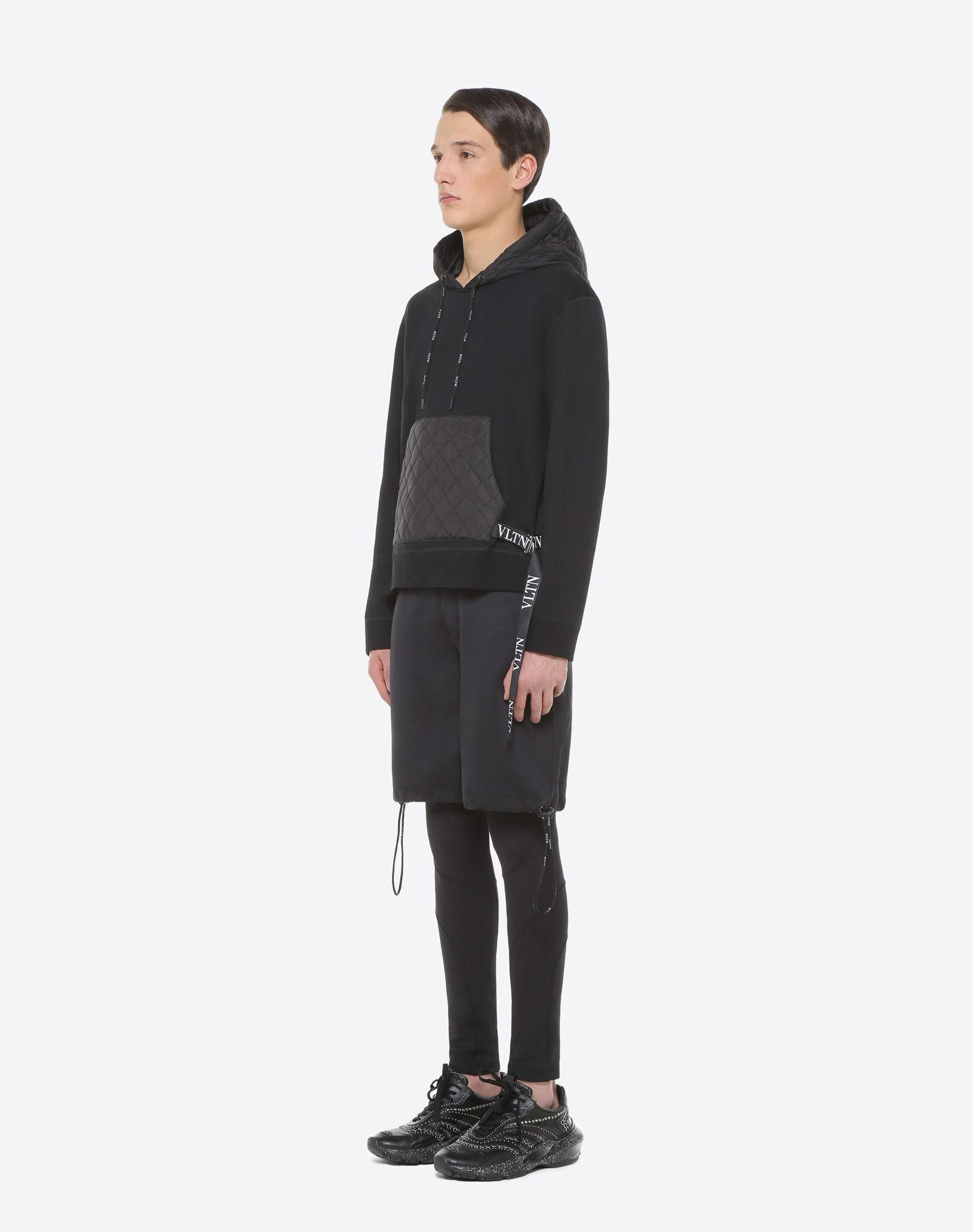 VALENTINO UOMO Sweatshirt with VLTN nylon hood Sweatshirt U d