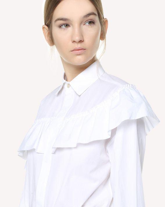 REDValentino Camisa de popelina ligera de algodón con volante