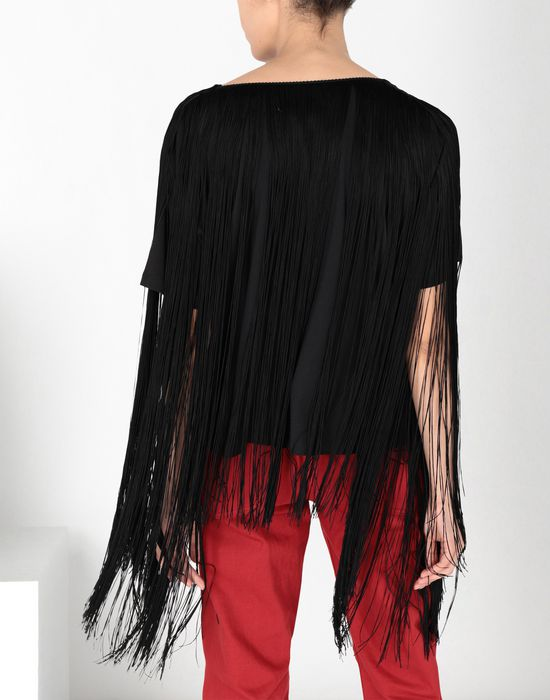 MM6 MAISON MARGIELA Jersey top with elongated fringes Top [*** pickupInStoreShipping_info ***] d