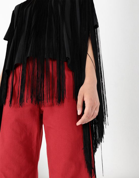 MM6 MAISON MARGIELA Jersey top with elongated fringes Top [*** pickupInStoreShipping_info ***] e