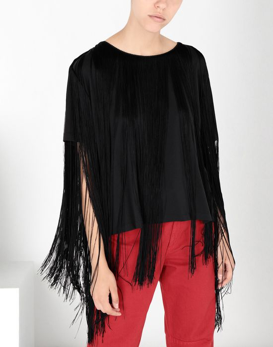MM6 MAISON MARGIELA Jersey top with elongated fringes Top [*** pickupInStoreShipping_info ***] f