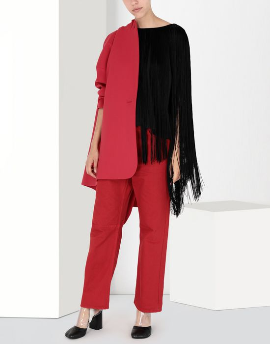 MM6 MAISON MARGIELA Jersey top with elongated fringes Top [*** pickupInStoreShipping_info ***] r