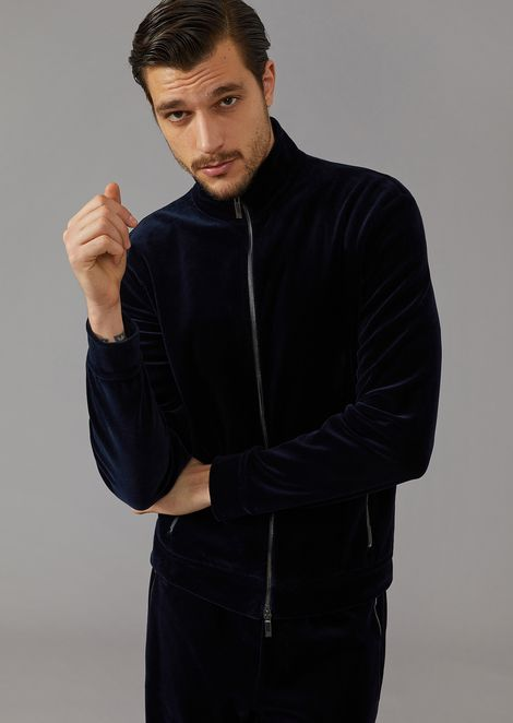 Full zip cotton velvet sweatshirt