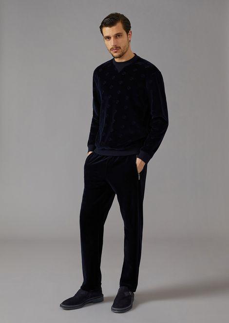 Velvet sweatshirt with tone-on-tone embroidered logo