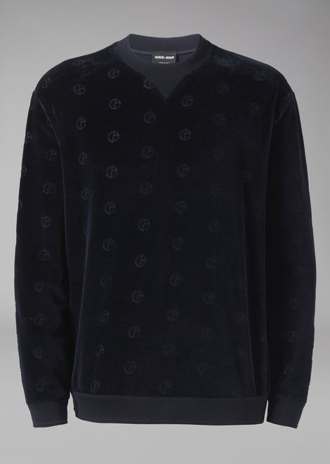Velvet sweatshirt with tone-on-tone embroidered logo
