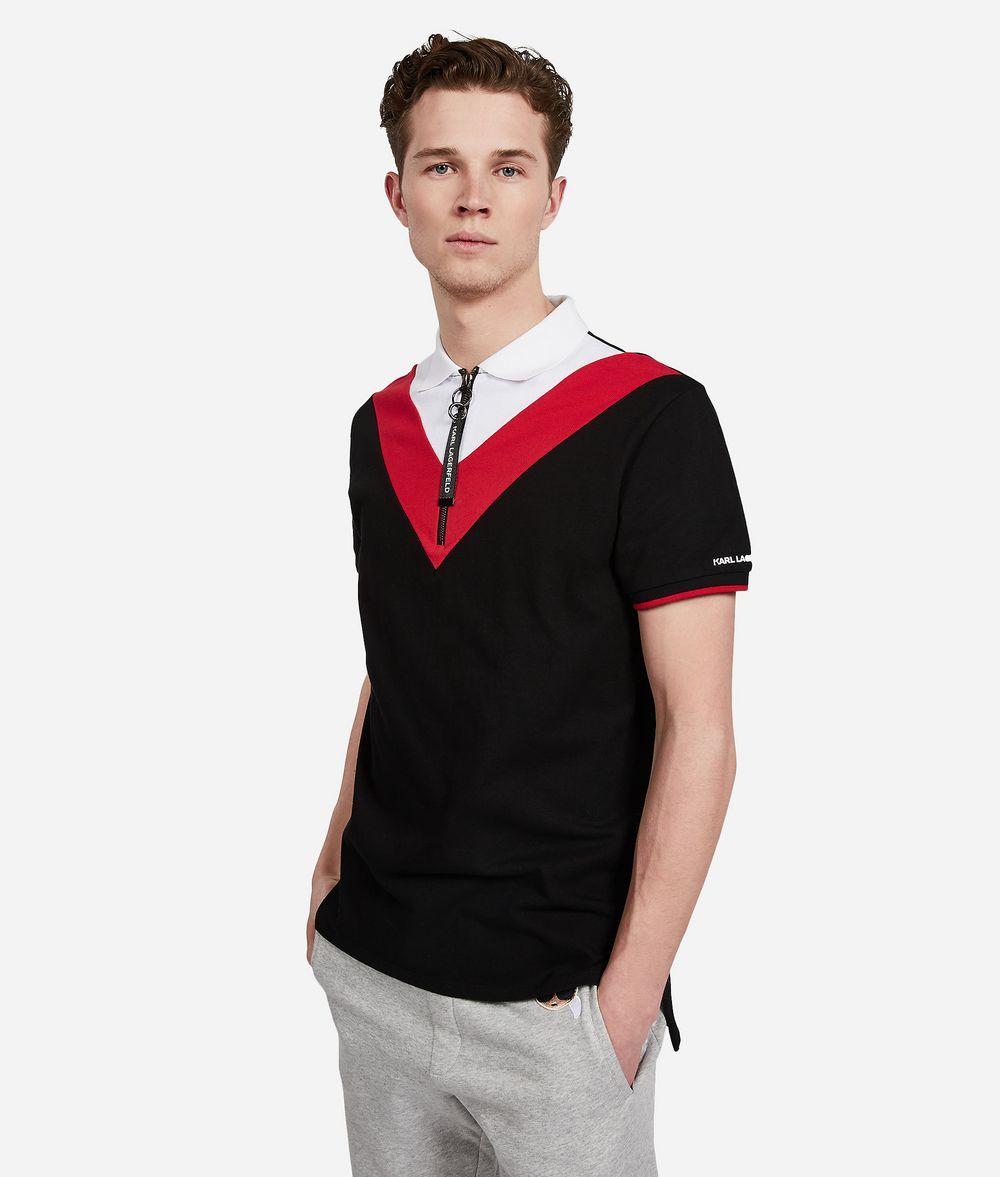 KARL LAGERFELD Color Block Zip Neck Polo T-shirt Man f