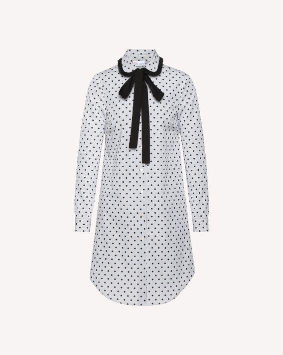 REDValentino Camisa larga de algodón de rayas con lunares