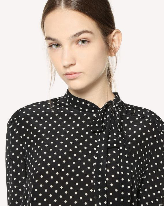 REDValentino Polka dot printed long Silk top