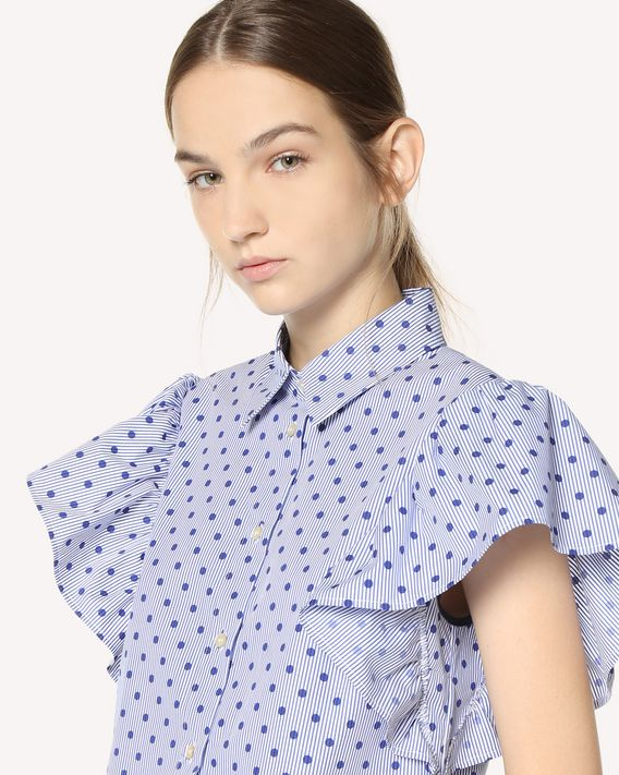 REDValentino Polka Dot Striped Cotton shirt