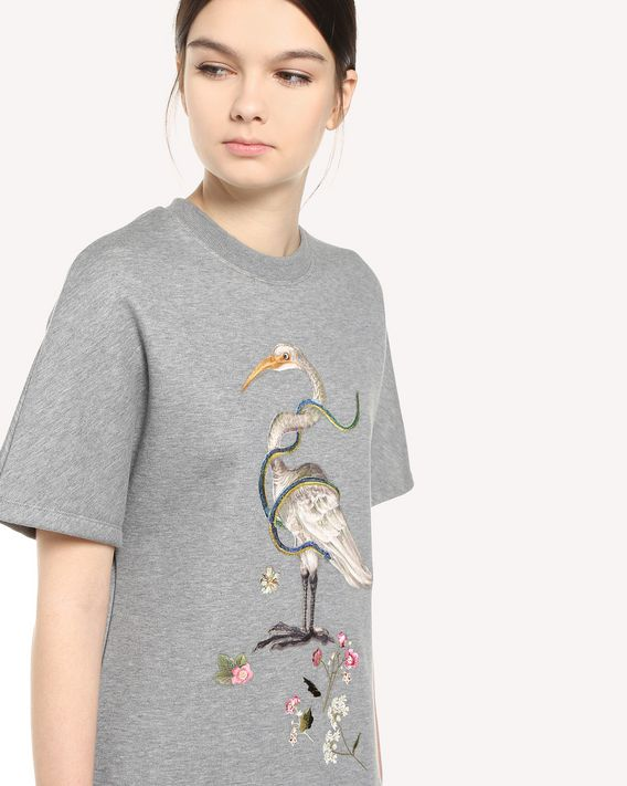 REDValentino Enchanted bird embroidered maxi sweatshirt