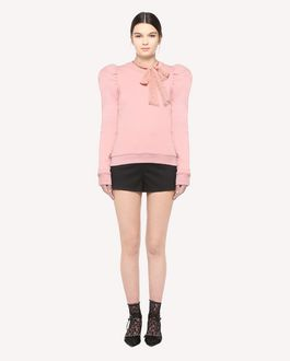REDValentino Puff shoulder Jersey sweatshirt with tulle bow