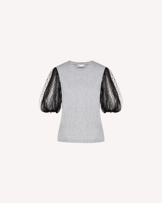 REDValentino T-Shirt mit Tüll-Ärmeln