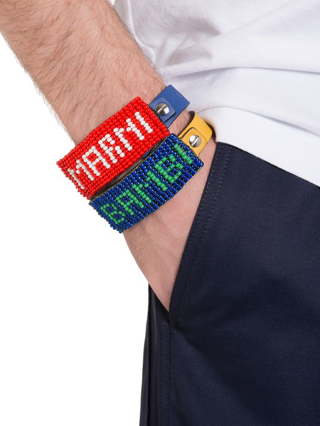 Marni Leather and bead bracelet with BAMBI lettering Man - 2