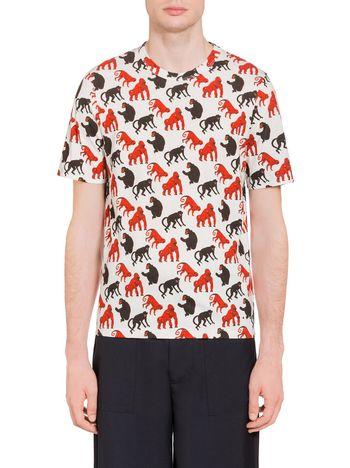 Marni T-shirt in jersey tecnico stampa Beast  Man