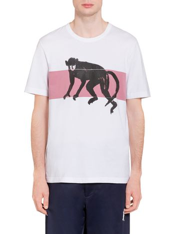 Marni T-shirt in compact jersey Frank Navin print with band Man