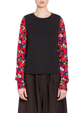 Marni T-shirt in jersey and poplin Deco Flower print Woman