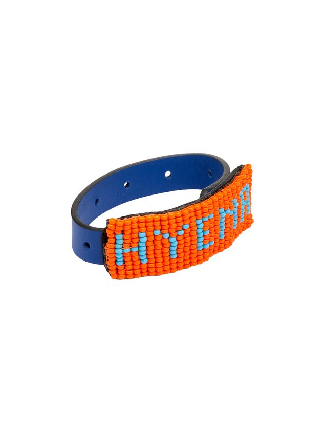 Marni Leather and bead bracelet with HYENA lettering Man - 3