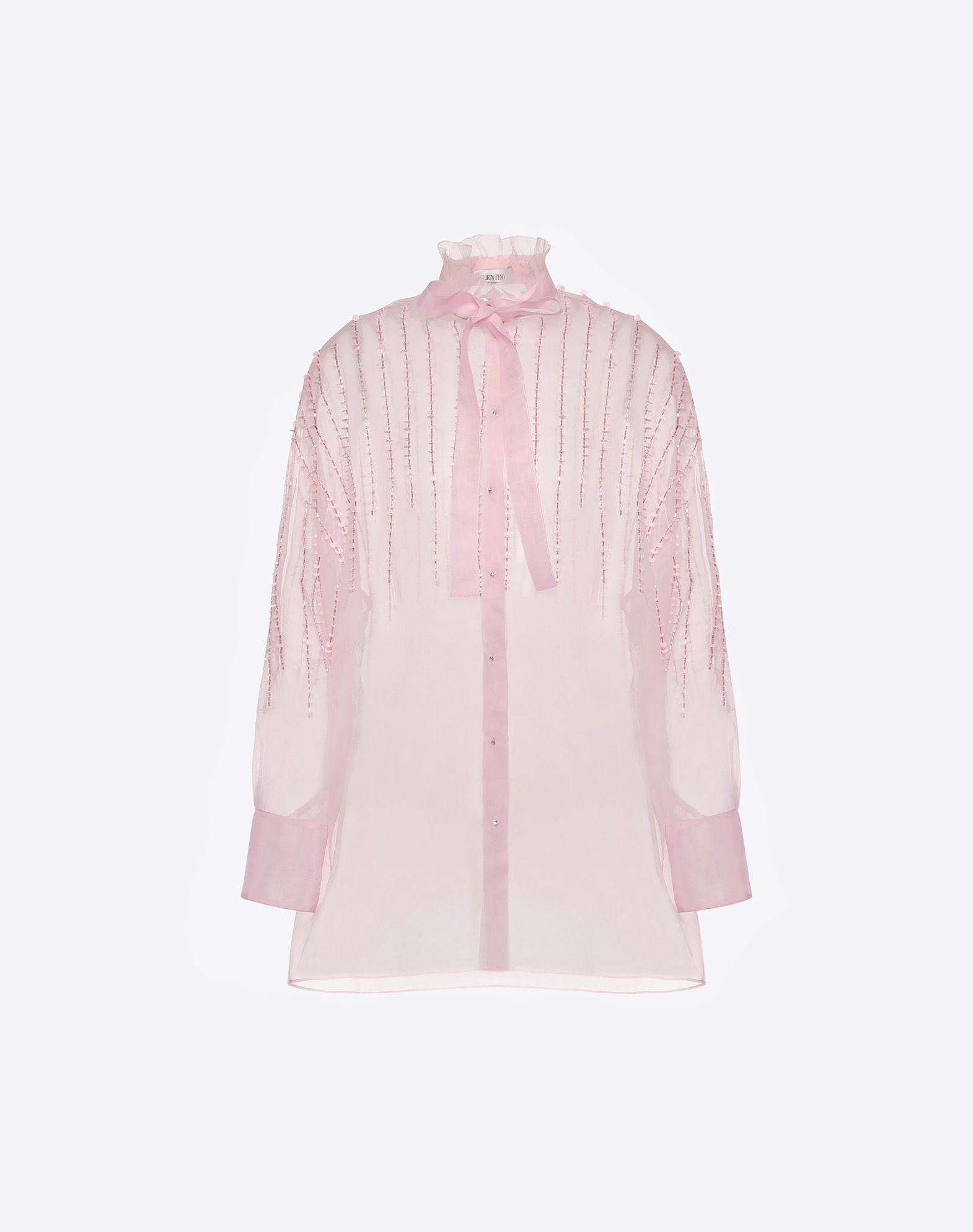 VALENTINO Embroidered Organza Shirt Shirt & blouse D f