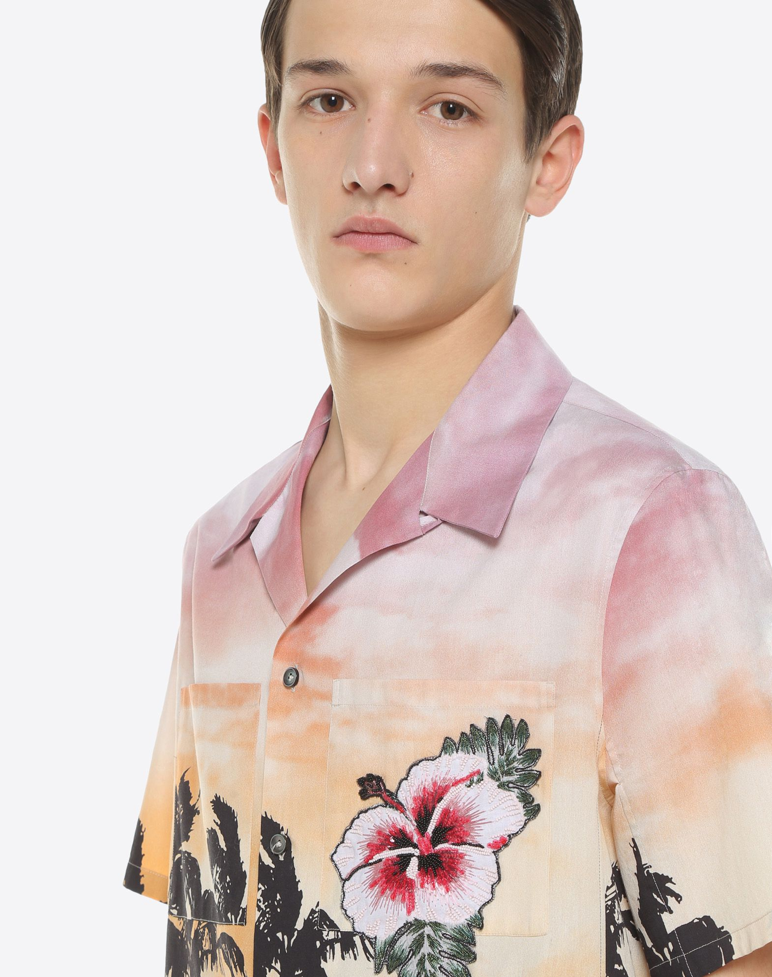 VALENTINO UOMO Bowling shirt with floral print and patch detail Shirt U a