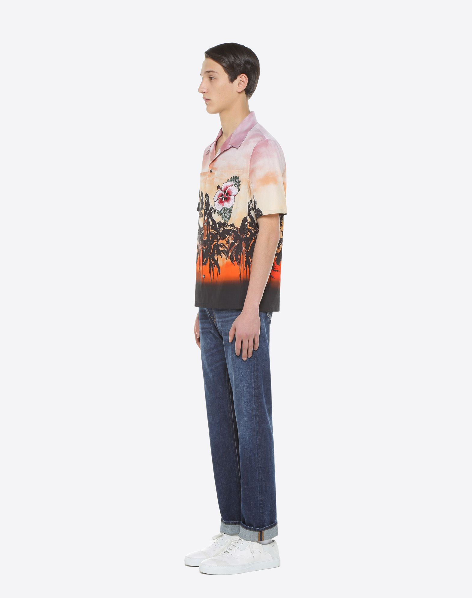 VALENTINO UOMO Bowling shirt with floral print and patch detail Shirt U d