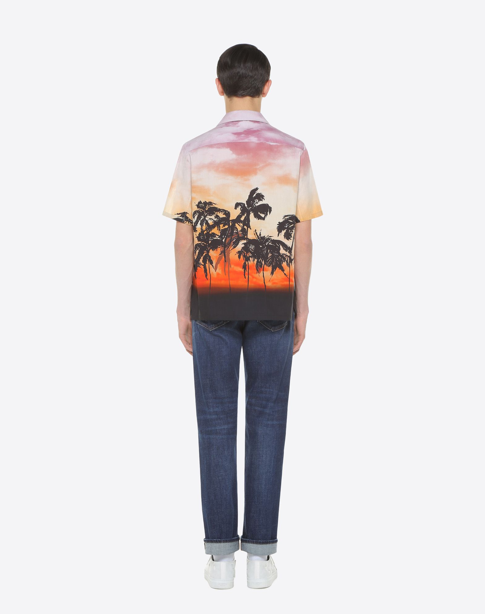 VALENTINO UOMO Bowling shirt with floral print and patch detail Shirt U e