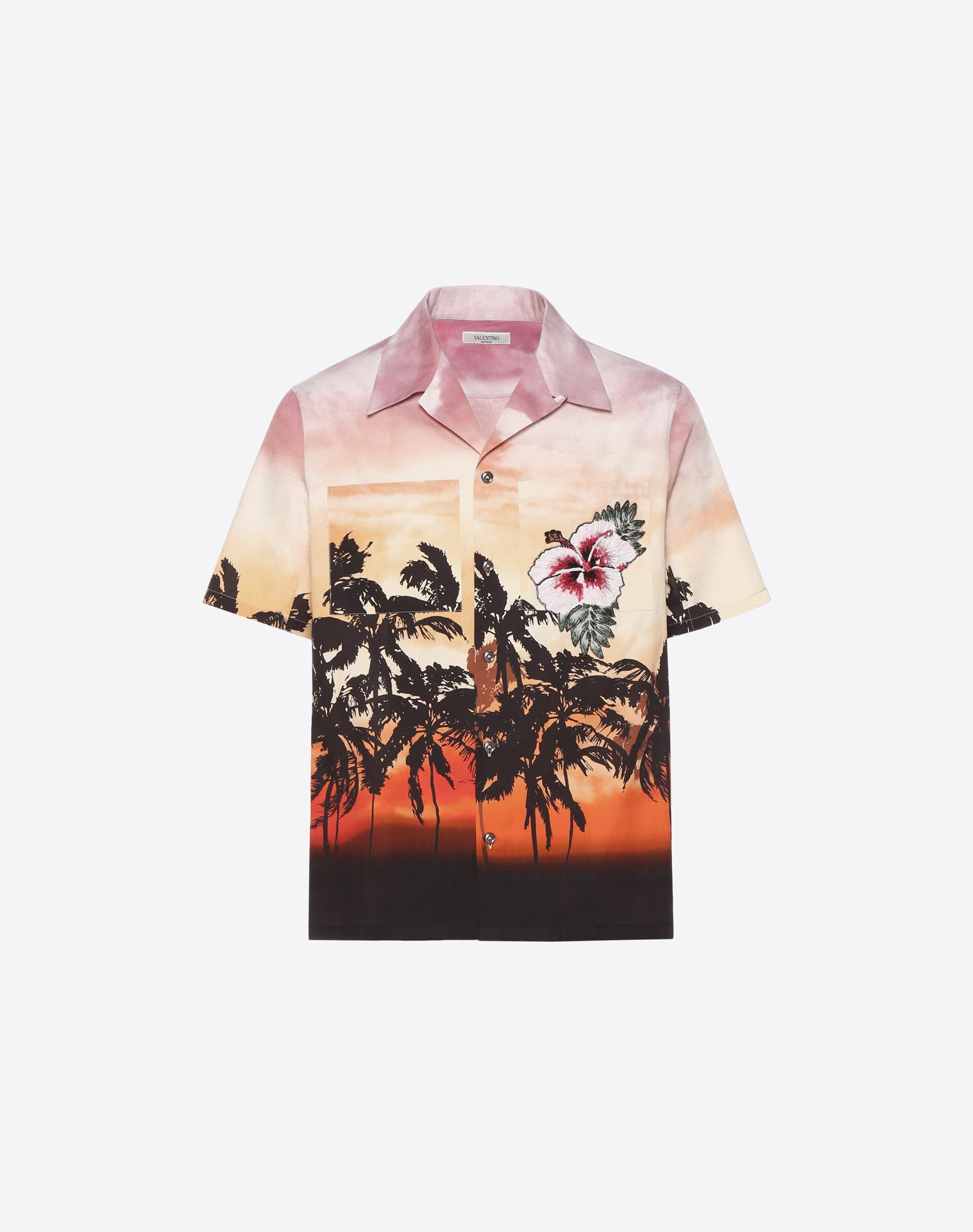 VALENTINO UOMO Bowling shirt with floral print and patch detail Shirt U f