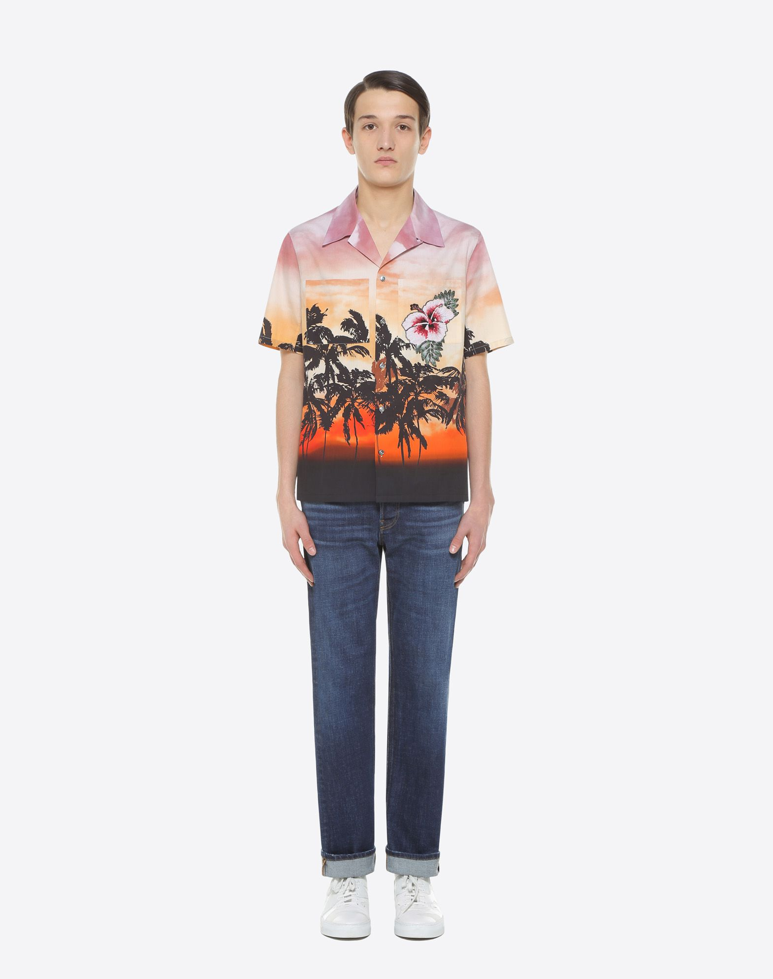 VALENTINO UOMO Bowling shirt with floral print and patch detail Shirt U r