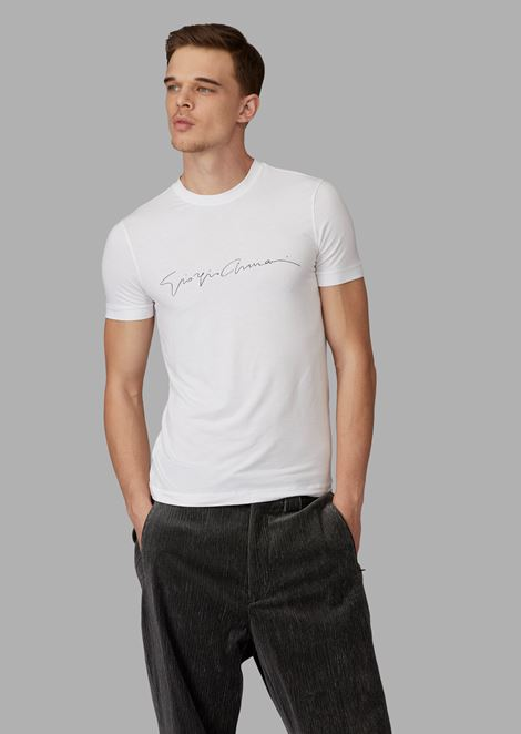 Stretch viscose T-shirt with Giorgio Armani signature